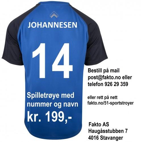 Spilletrøye med navn og nummer kr. 199,-.